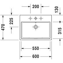Lavatório de bancada ou mural 60 respiro Vero Air - DURAVIT