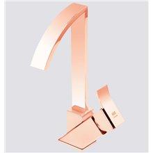 Torneira monocomando para lavatório com cano alto ouro rosa INCA - Griferías MR