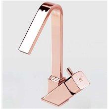 Torneira monocomando para lavatório com cano alto ouro rosa CATRAL - Griferías MR