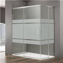 Painel angular de duche 2 portas de correr com serigrafia BASIC - GME